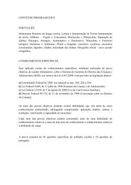 CONTEÚDO PROGRAMÁTICO PORTUGUÊS Demonstrar Domínio