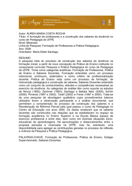 Autor: ÁUREA MARIA COSTA ROCHA Título: A formação de