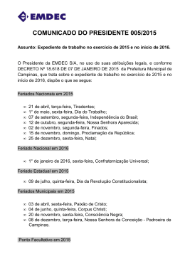 COMUNICADO DO PRESIDENTE 005/2015