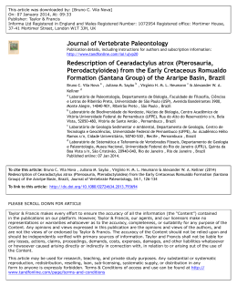 Journal of Vertebrate Paleontology Redescription of Cearadactylus