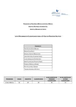 lista preliminar de classificados para a 2ª fase do processo seletivo