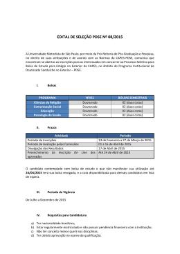 Edital Sanduiche 2015 - Universidade Metodista de São Paulo