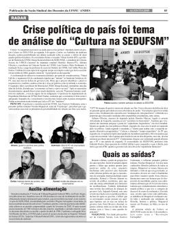 """Crise política do país foi tema de análise do """"Cultura na SEDUFSM"""""""