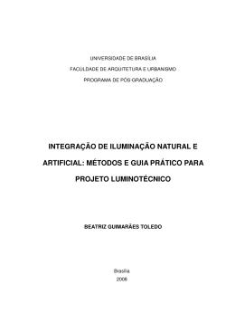 INTEGRAÇÃO DE ILUMINAÇÃO NATURAL E ARTIFICIAL