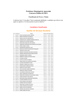 Prefeitura Municipal de Aparecida Concurso Público 01/2013.