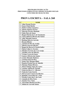 PROVA ESCRITA – SALA 260