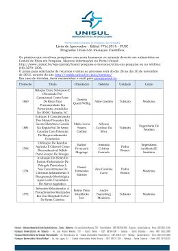Lista de Aprovados - Edital 776/2015