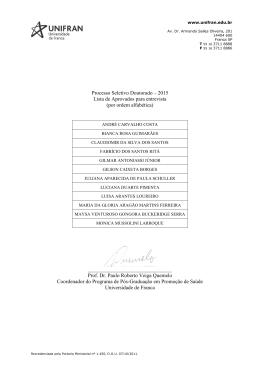 Processo Seletivo Doutorado – 2015 Lista de Aprovados para