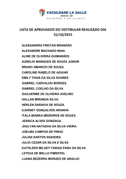 LISTA DE APROVADOS DO VESTIBULAR