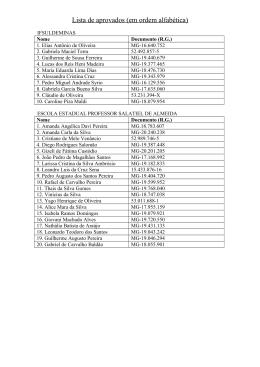 Lista de aprovados - vagas remanescentes