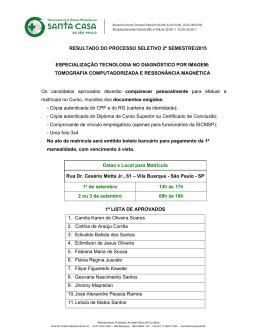 resultado do processo seletivo 2º semestre/2015 especialização