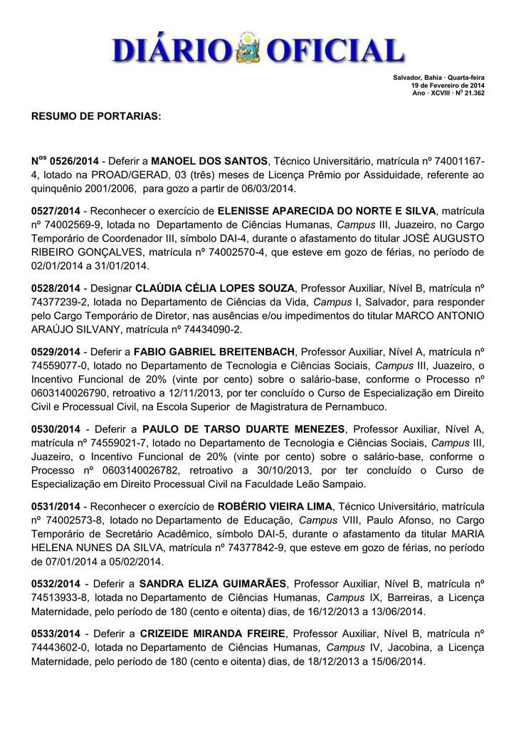 RESUMO DE PORTARIAS: N 0526/2014 - Deferir a