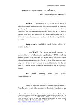 A Lei 8429/92 e seus aspectos polêmicos
