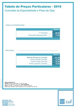 Tabela de Preços Particulares - 2015