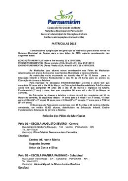 Escolas - Prefeitura de Parnamirim