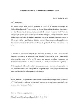 Pedido de Autorização á Clínica Fisiátrica do Carvalhido Porto