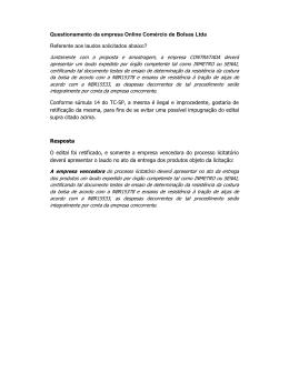 Questionamento da empresa Online Comércio de Bolsas Ltda