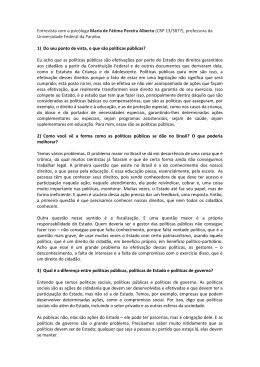 Entrevista com a psicóloga Maria de Fátima Pereira Alberto - CRP-RJ