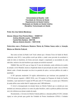 Entrevista com a Professora Doutora Maria de Fátima Sousa