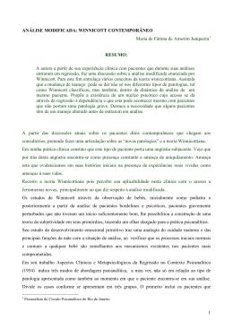 WINNICOTT CONTEMPORÂNEO Maria de Fátima