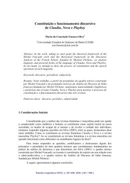 Constituição e funcionamento discursivo de Claudia, Nova e