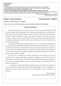 Disciplina: Língua Portuguesa Data da Realização: 10/02/2014