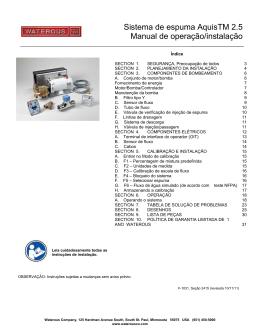 Sistema de espuma AquisTM 2.5 Manual de operação