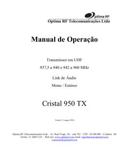 Manual de operação - Optima RF Telecomunicações LTDA