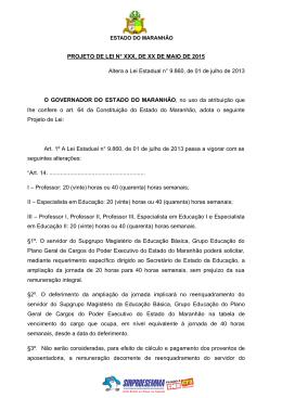 Projeto de Lei sobre unificação e ampliação