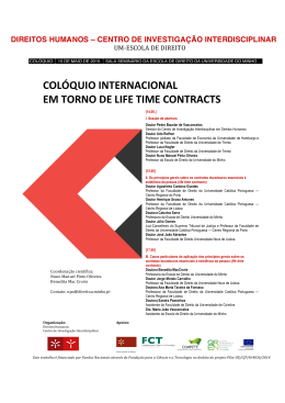 colóquio internacional em torno de life time contracts