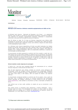 Page 1 of 2 Monitor Mercantil - Whirlpool Latin America e Embraco