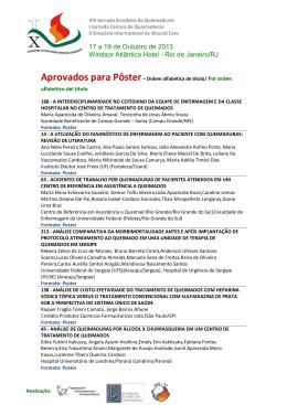 Aprovados para Poster - IX Jornada Brasileira de Queimaduras