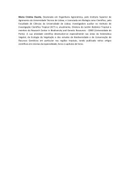 Maria Cristina Duarte, Doutorada em Engenharia Agronómica, pelo