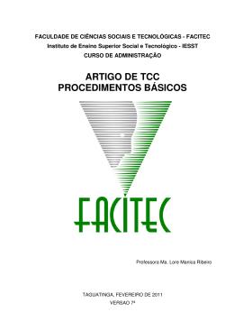 ARTIGO DE TCC PROCEDIMENTOS BÁSICOS