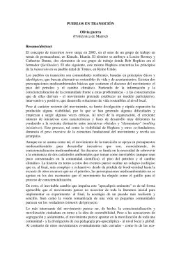 PUEBLOS EN TRANSICIÓN Olívia guerra (Politécnica de