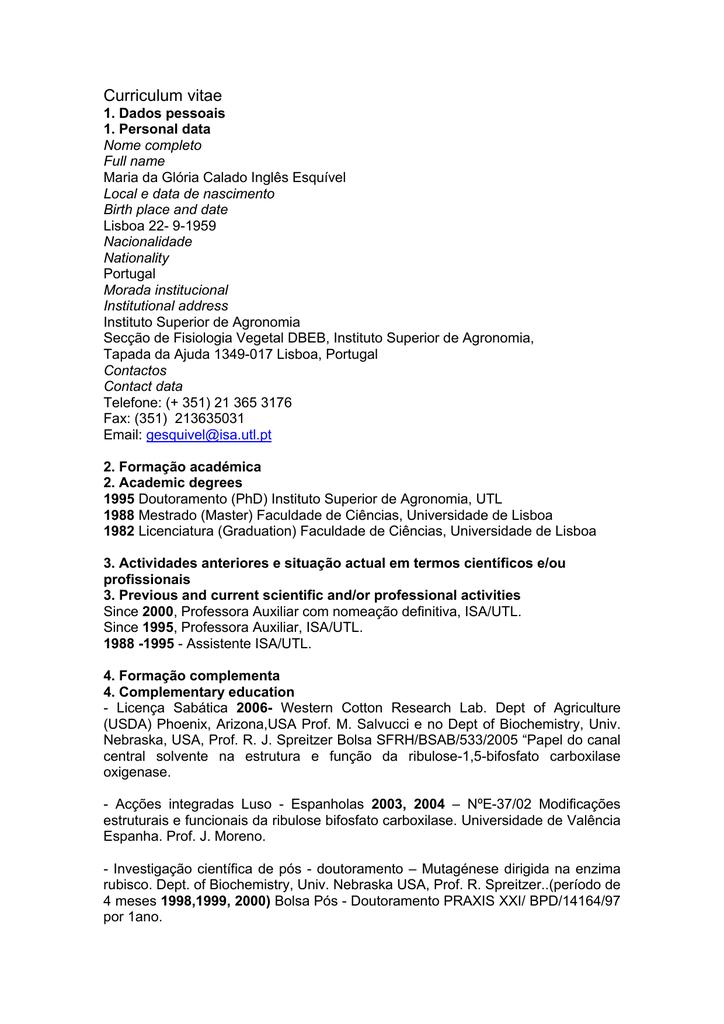 Curriculum Vitae Instituto Superior De Agronomia