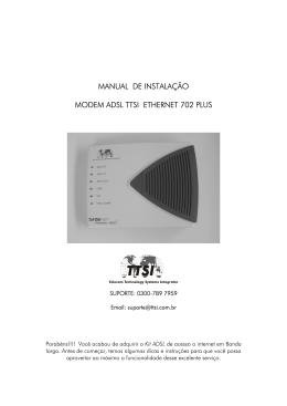 manual de instalação modem adsl ttsi ethernet 702 plus