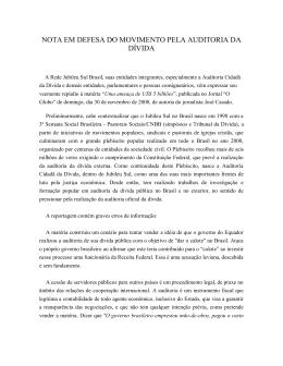Nota enviada dia 3/12/2008 ao Jornal O Globo, com pedido de