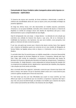 Comunicado de Vasco Cordeiro sobre transporte aéreo