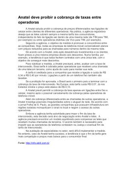 Anatel deve proibir a cobrança de taxas entre operadoras