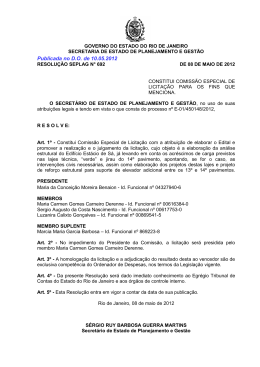 Publicada no D.O. de 10.05.2012 - Governo do Estado do Rio de