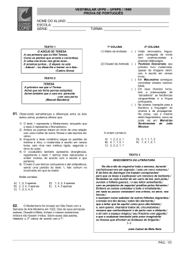 VESTIBULAR UFPE – UFRPE / 1998 PROVA DE PORTUGUÊS