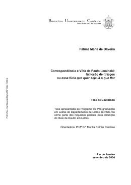 Fátima Maria de Oliveira Correspondência e Vida de