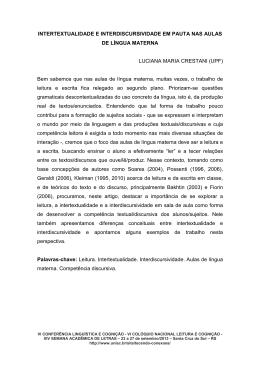 INTERTEXTUALIDADE E INTERDISCURSIVIDADE EM