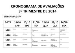 CRONOGRAMA DE AVALIAÇÕES 3º TRIMESTRE DE 2014
