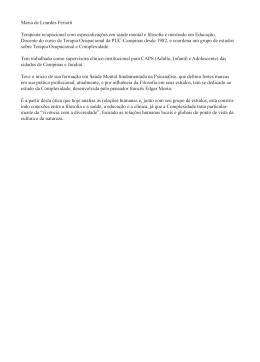 Maria de Lourdes Feriotti Terapeuta ocupacional com