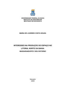 Interesses na produção do espaço no Litoral Norte da Bahia