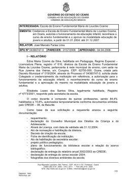 INTERESSADA: Escola de Ensino Fundamental Maria de Lourdes