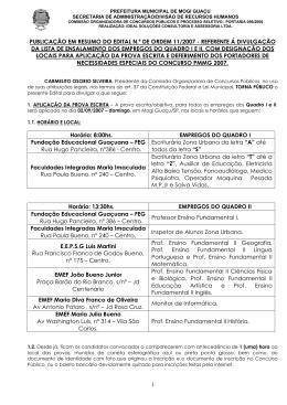 PUBLICAÇÃO EM RESUMO DO EDITAL N.º DE ORDEM 11/2007