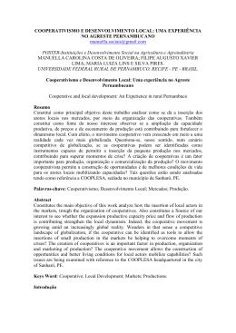 COOPERATIVISMO E DESENVOLVIMENTO LOCAL: UMA